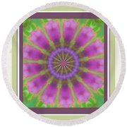 Pink Mandala Bloom Round Beach Towel by Shirley Moravec