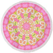Pink Medallion Round Beach Towel by Shirley Moravec