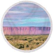 Pink Mesa Round Beach Towel by Walter Colvin
