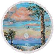 Pink Moon Rise Round Beach Towel by Linda Olsen