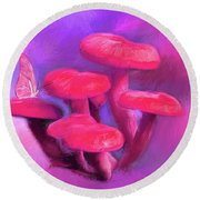 Pink Mushrooms Round Beach Towel