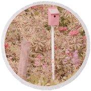 Pink Nesting Box Round Beach Towel by Bonnie Bruno