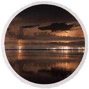 Amber Nights Round Beach Towel by Quinn Sedam