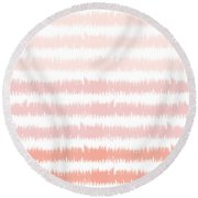 Pink Ombre Ikat Stripe- Art By Linda Woods Round Beach Towel