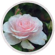 Pink On Pink Rose  Round Beach Towel