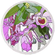 Pink Orchid Bunch Round Beach Towel