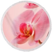 Pink Orchid Closeup Round Beach Towel