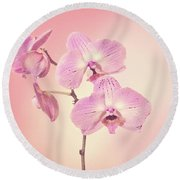 Pink Orchids 2 Round Beach Towel by Linda Phelps