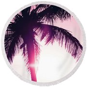 Round Beach Towel featuring the photograph Pink Palm Tree Silhouettes Kihei Tropical Nights by Sharon Mau