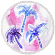 Pink Palm Trees Round Beach Towel