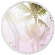 Round Beach Towel featuring the photograph Pink Palms by Cindy Garber Iverson