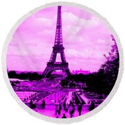 Round Beach Towel featuring the photograph Pink Paris by Michelle Dallocchio