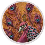 Pink Peacock Round Beach Towel by Leah Saulnier The Painting Maniac