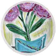 Pink Peonies-gray Table Round Beach Towel