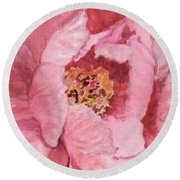 Pink Peony Round Beach Towel by Kristen Abrahamson