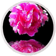 Pink Peony Reflections Round Beach Towel