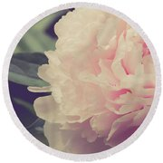 Round Beach Towel featuring the photograph Pink Peony Vintage Style by Edward Fielding