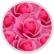 Pink Pink Roses Round Beach Towel