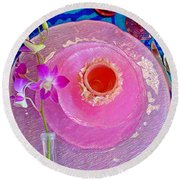 Pink Place Setting Round Beach Towel