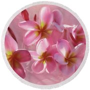 Round Beach Towel featuring the photograph Pink Plumeria Pastel By Kaye Menner by Kaye Menner