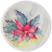 Pink Poinsetta On Blue Foliage Round Beach Towel