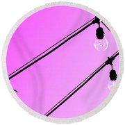Pink Pop Art Light Bulbs - Sharon Cummings Round Beach Towel