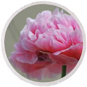 Pink Poppy Round Beach Towel