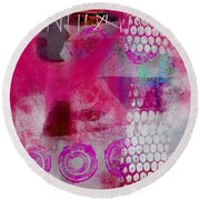 Pink Portrait Abstract Round Beach Towel