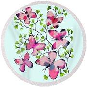 Pink Profusion Butterflies Round Beach Towel