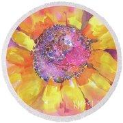 Pink Purple Yellow Sunflower  Round Beach Towel