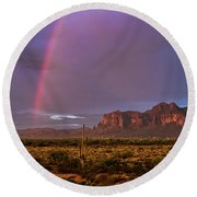 Round Beach Towel featuring the photograph Pink Rainbow  by Saija Lehtonen