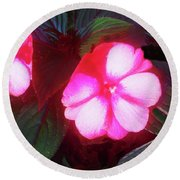 Pink Red Glow Round Beach Towel