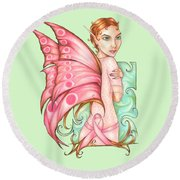 Pink Ribbon Fairy For Breast Cancer Awareness Round Beach Towel
