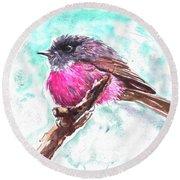 Pink Robin  Round Beach Towel