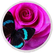 Pink Rose And Black Blue Butterfly Round Beach Towel