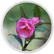 Pink Rose Flower Round Beach Towel