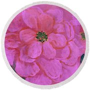 Pink Rose Flowers Round Beach Towel