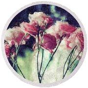 Pink Rose Flowers Round Beach Towel