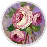 Pink Rose Round Beach Towel by Janet Garcia