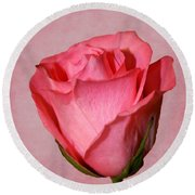Round Beach Towel featuring the photograph Pink Rose by Judy Vincent