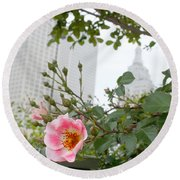Pink Rose Of Tulsa Round Beach Towel