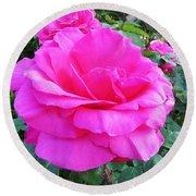Pink Rose On Verona Round Beach Towel