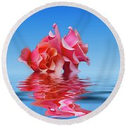 Pink Rose Sea Plale Blue Round Beach Towel