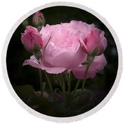 Pink Rose With Buds Round Beach Towel