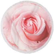 Pink Rose With Rain Drops Round Beach Towel