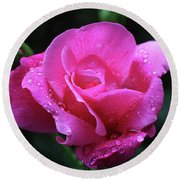 Pink Rose With Raindrops Round Beach Towel