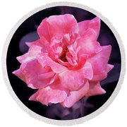 Pink Rose With Violet Round Beach Towel