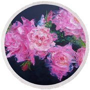 Pink Roses Oil Painting Round Beach Towel