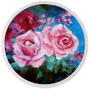 Pink Roses On Blue Round Beach Towel by Jenny Lee