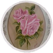 Pink Roses Oval Framed Round Beach Towel